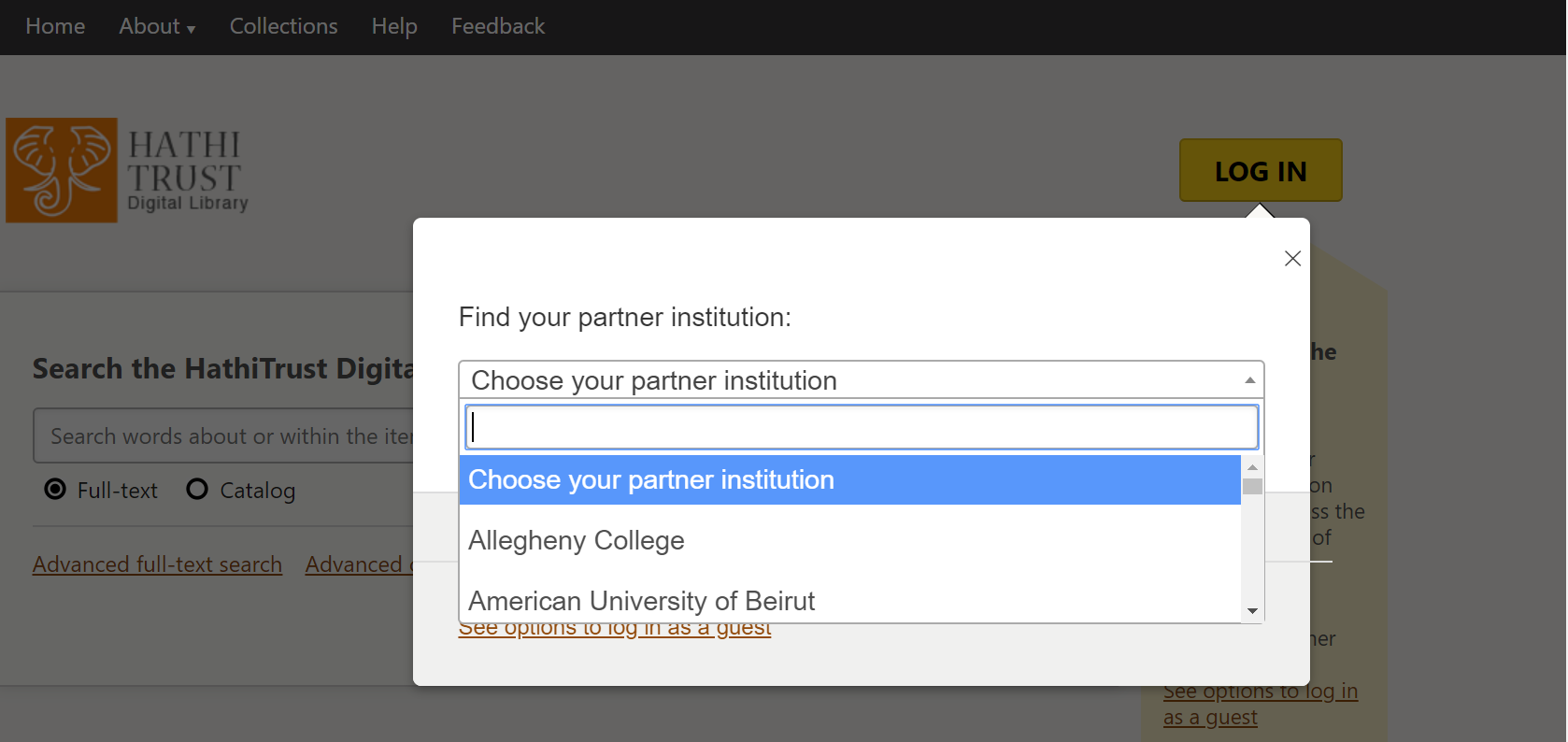 Institution Search box opened on Hathi webpage