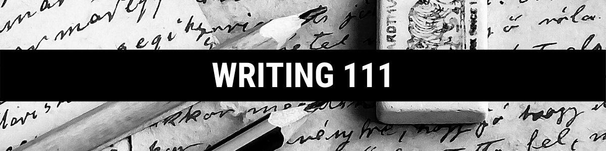 Writing 111 with background of text