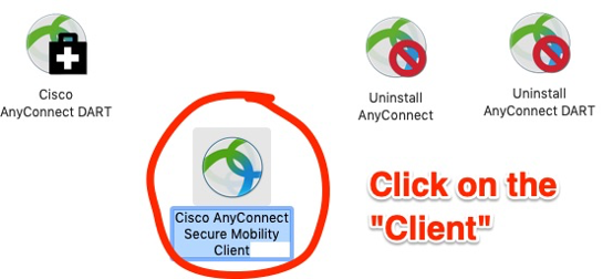 icons of various AnyConnect products; for the VPN, choose Cisco AnyConnect Secure Mobility Client