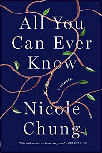 Book cover of All you can ever know. Dark blue background with vine with leaves.