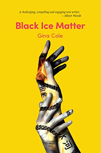 Book cover of black ice matter. Yellow background with two intertwined hands with markings and chains shadowed on them.
