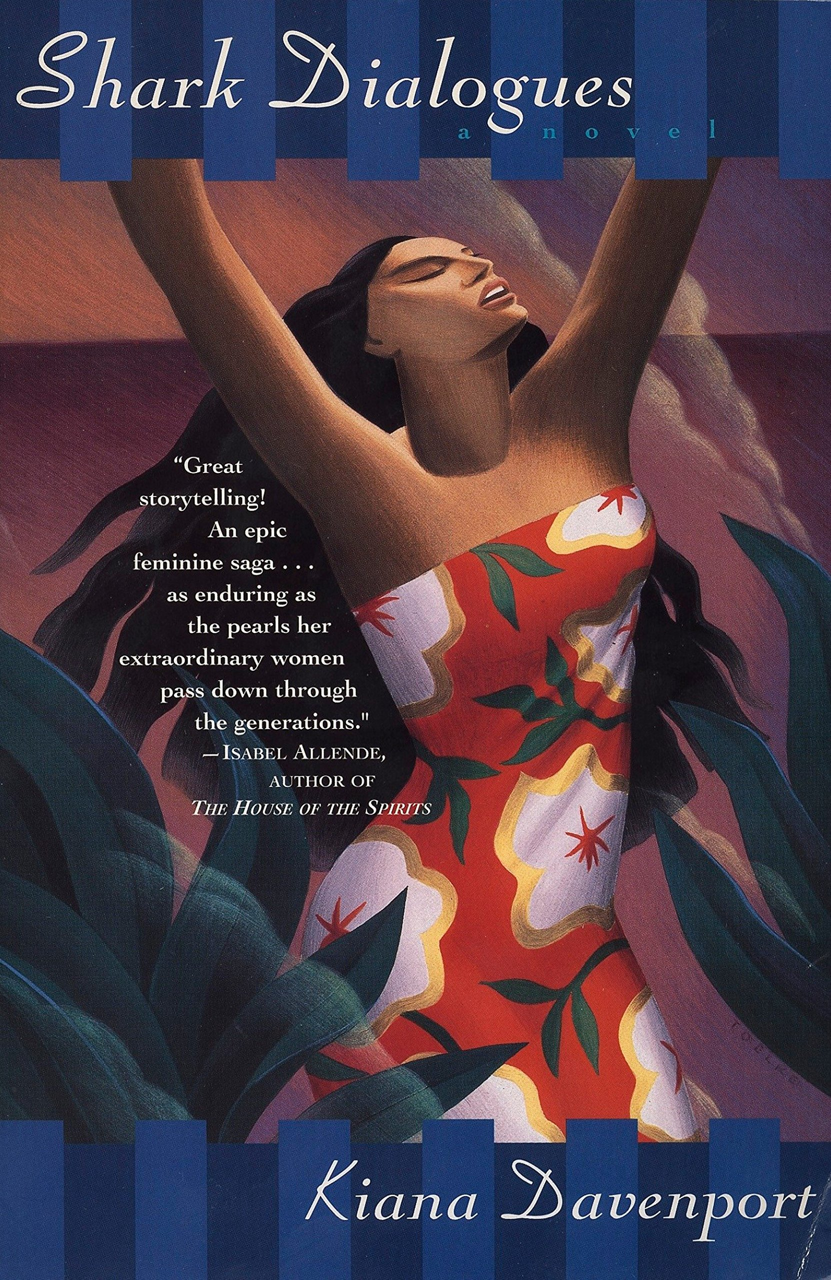 Book cover of shark dialogues. Woman with long, dark hair in floral dress raises arms up with eyes closed.