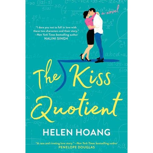 Book cover of the kiss quotient. Aqua blue background with animated man and woman kissing in background.