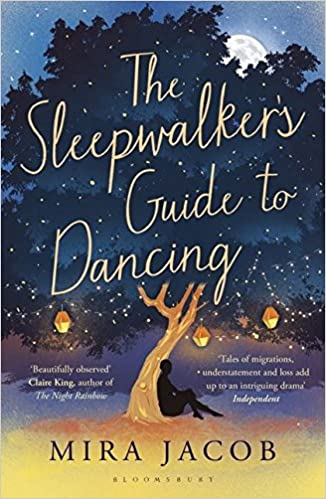 Book cover of the sleepwalker's guide to dancing. Image of a person in shadow sitting at a base of a tree.