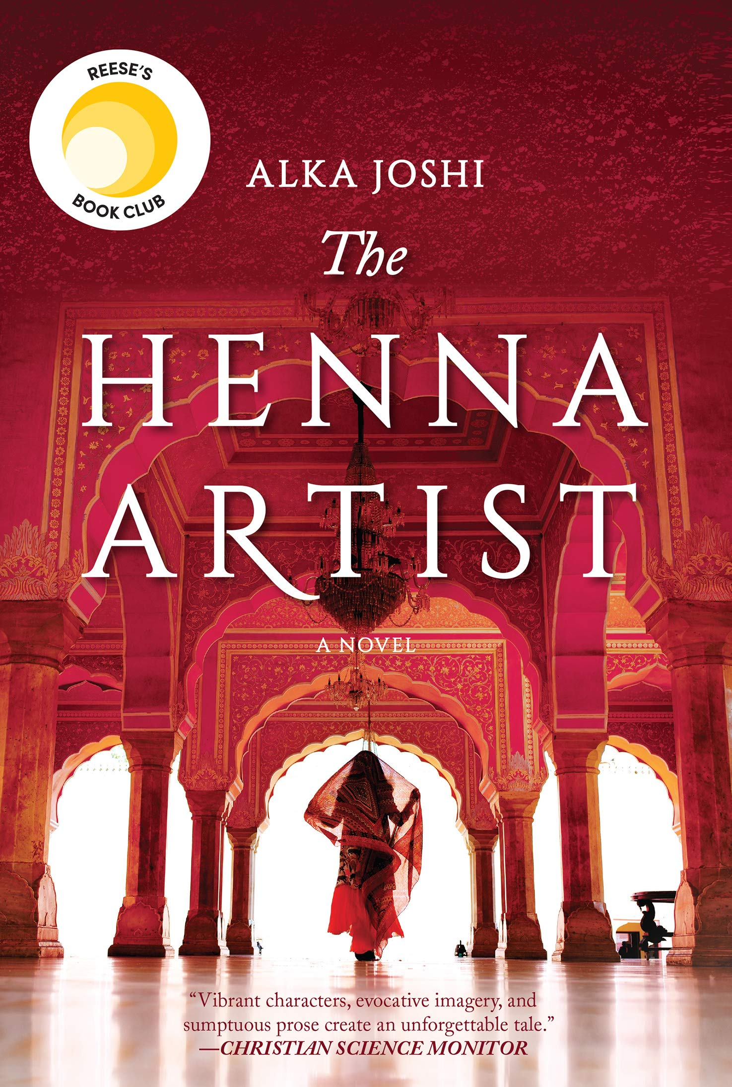Book cover of the henna artist. Image of woman in a Sari walking away from the audience.