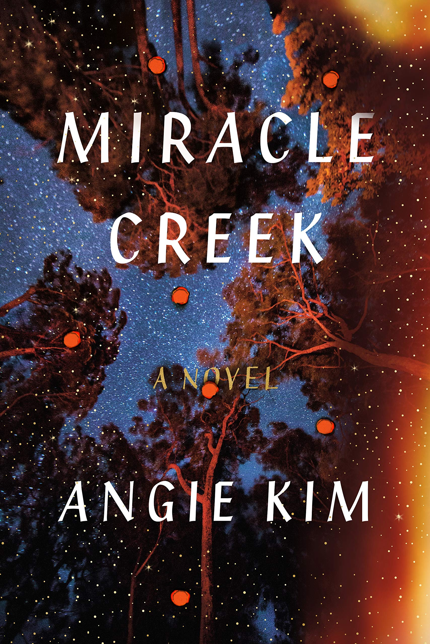 Book cover of miracle creek. View of the sky and surrounding trees, fire is creeping up from the edge.