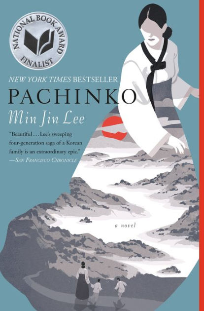 Book cover of pachinko. Woman dressed in traditional Korean dress - her dress shows a pattern of mountains, a woman, and two boys.