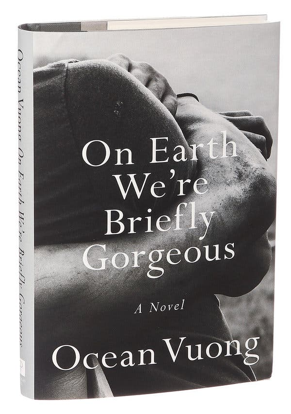 Book cover of on earth we're briefly gorgeous. Black and white image of two people embracing.