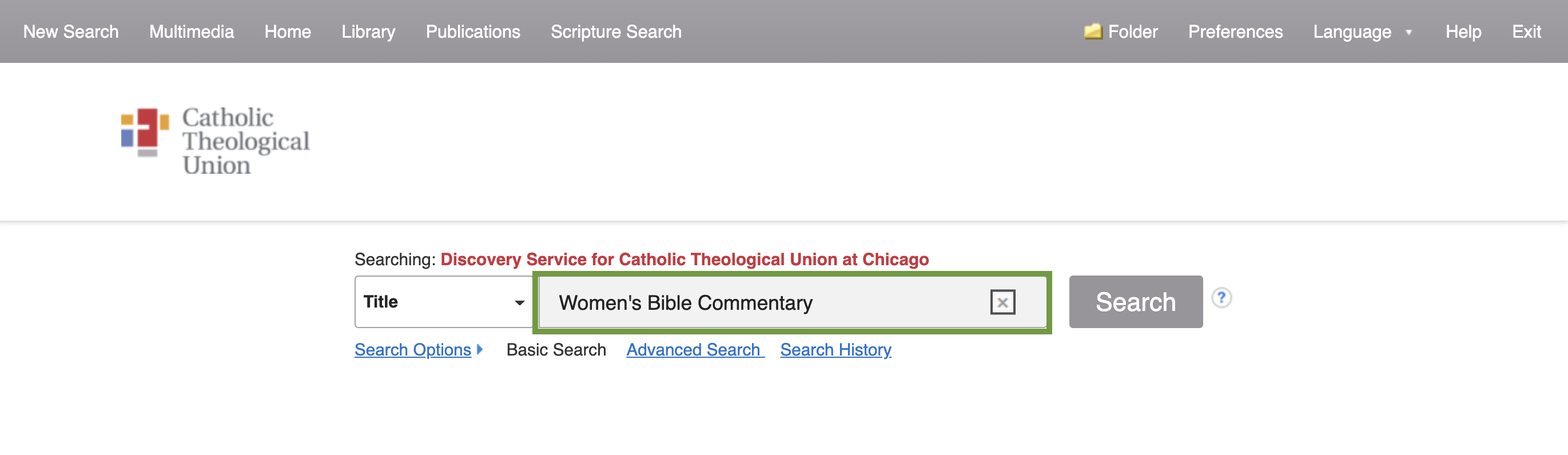 Search box for EBSCO Discovery Service