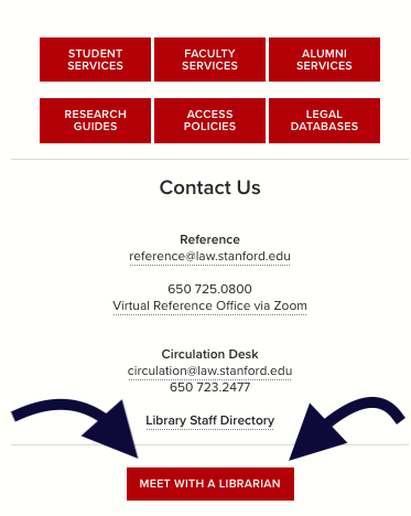 screenshot of library homepage