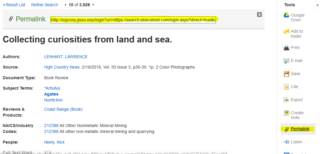 screenshot of EBSCO article with permanent links highlighted