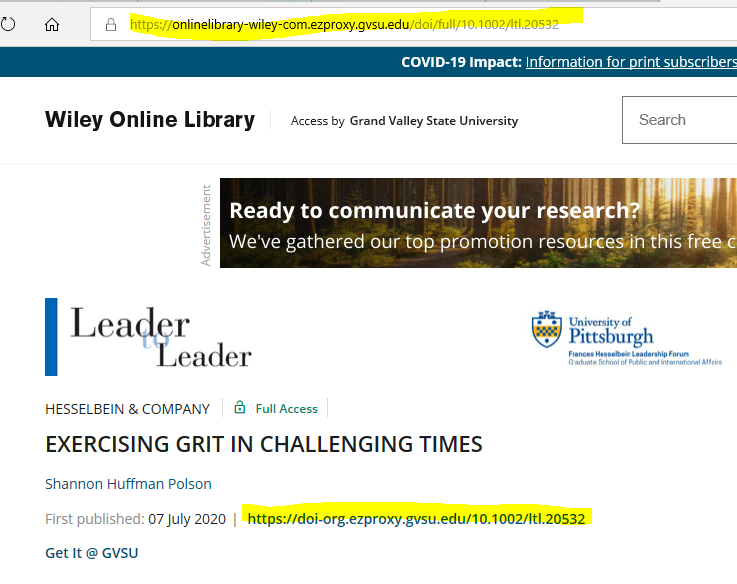 screen shot of Wiley article with highlighted URL locations