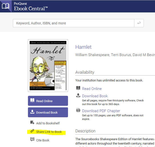 "screen shot with ""share link to book"" option highlighted"