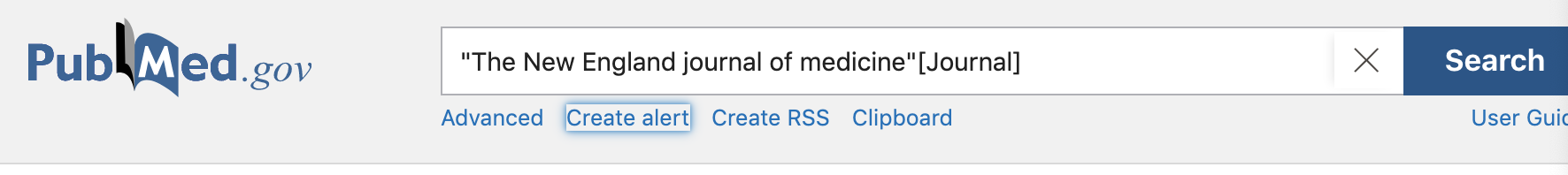 """Screen capture showing search for New England Journal of Medicine as journal title. Select button to create """"alert"""""""