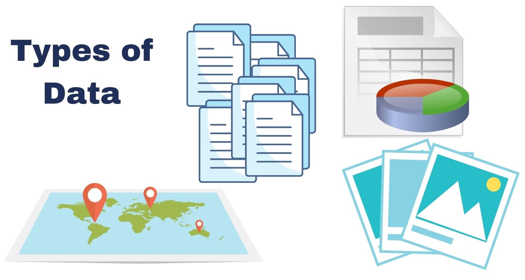 Graphic illustrating commons data types, including spatial, text, image, and spreadsheet data.
