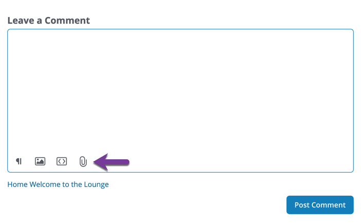 Directions to use the content area field of the Leave a Comment area that appears at the bottom of Question/Discussion threads.