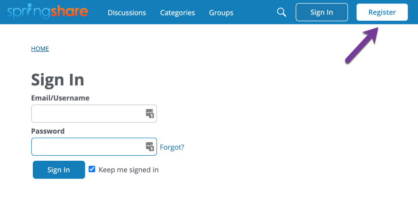 Springshare Lounge login page, with direction to select Register button.