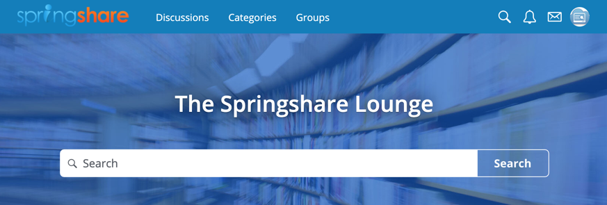 Springshare Lounge Landing Page image.