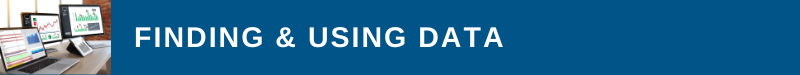 Blue banner with three computer monitors displaying graphs and charts and title text of Finding & Using Data