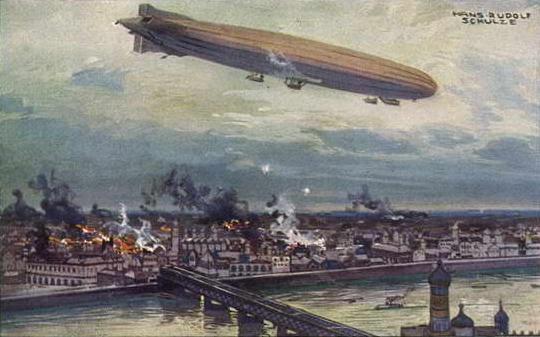 German Airship bombing Warsaw 1914