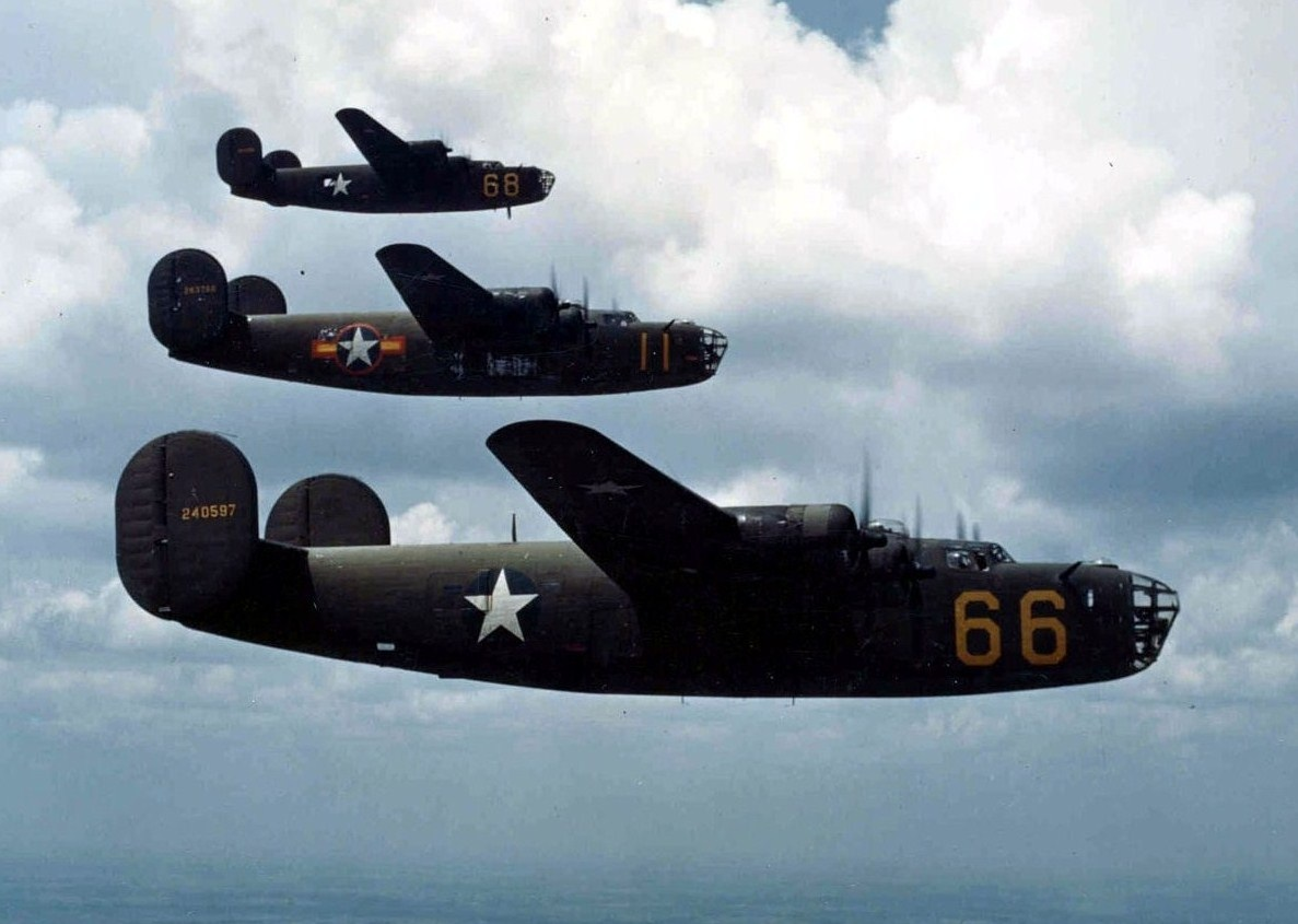 B-24 bombers in formation 1942
