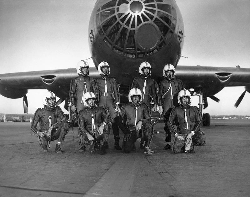 B-36 crew in flight suits