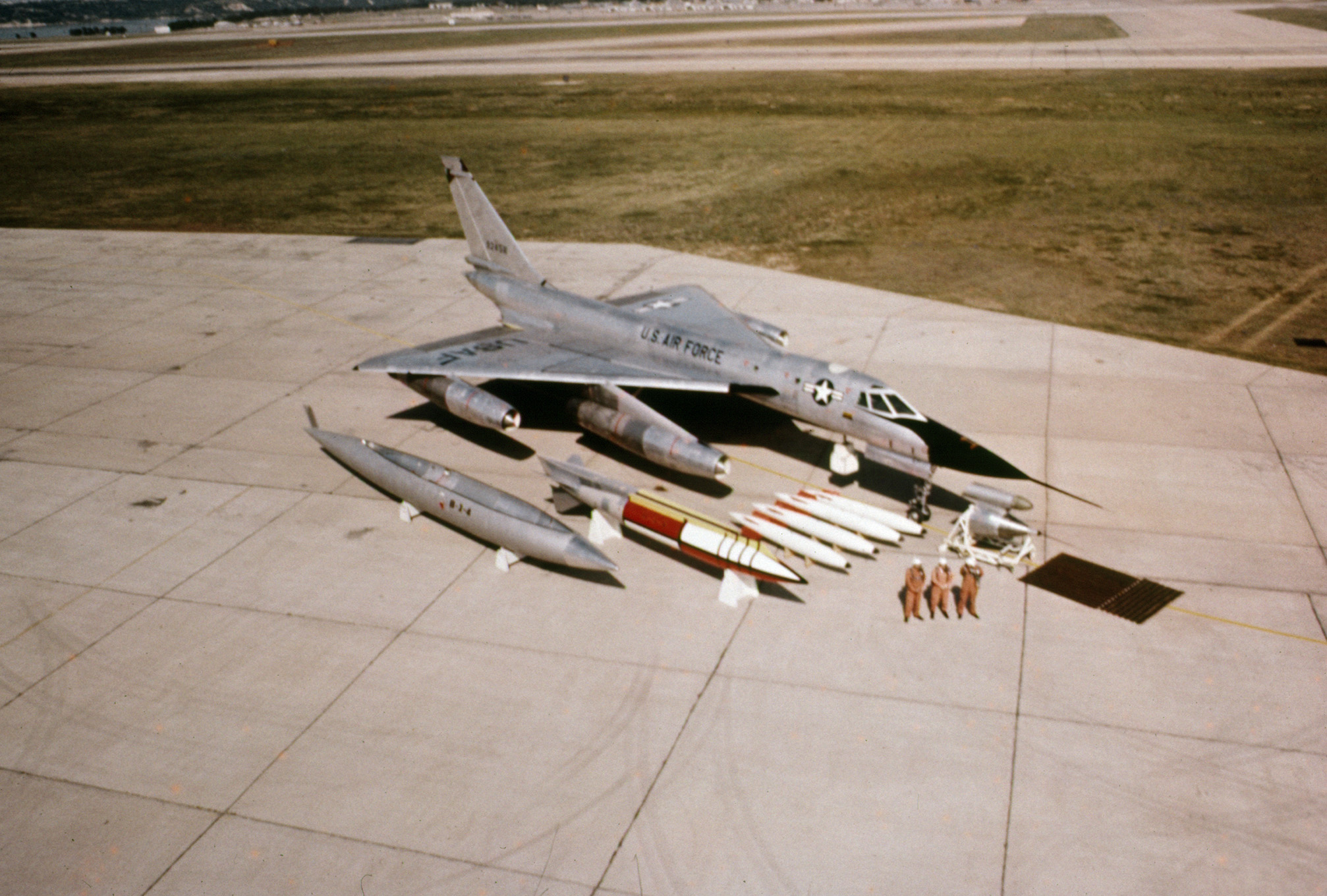 B-58 Hustler with extra fuel tanks, armaments and crew