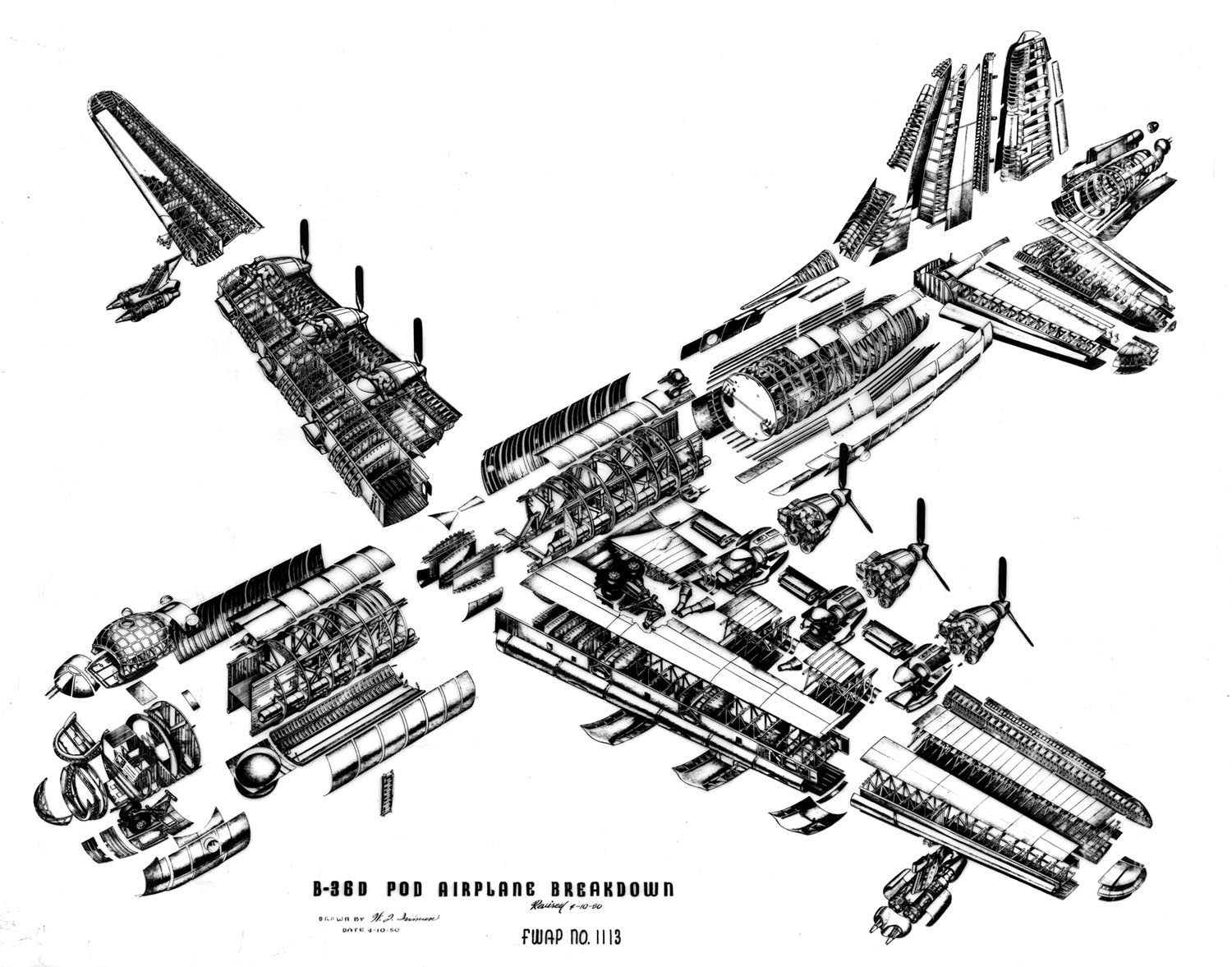 B-36D cross section showing interior