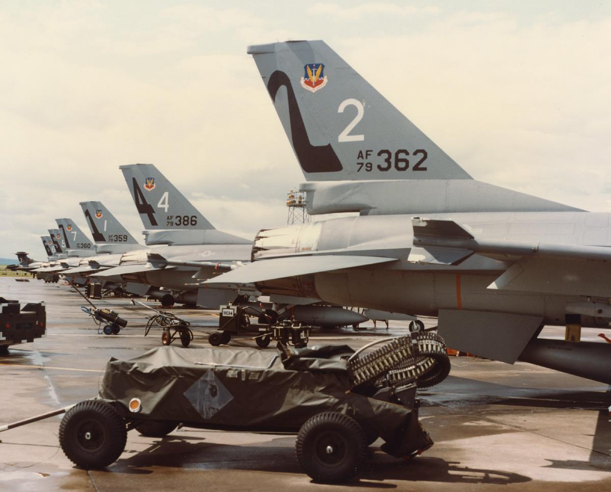 F-16 Fighter Bomber arming for mission, Vietnam era