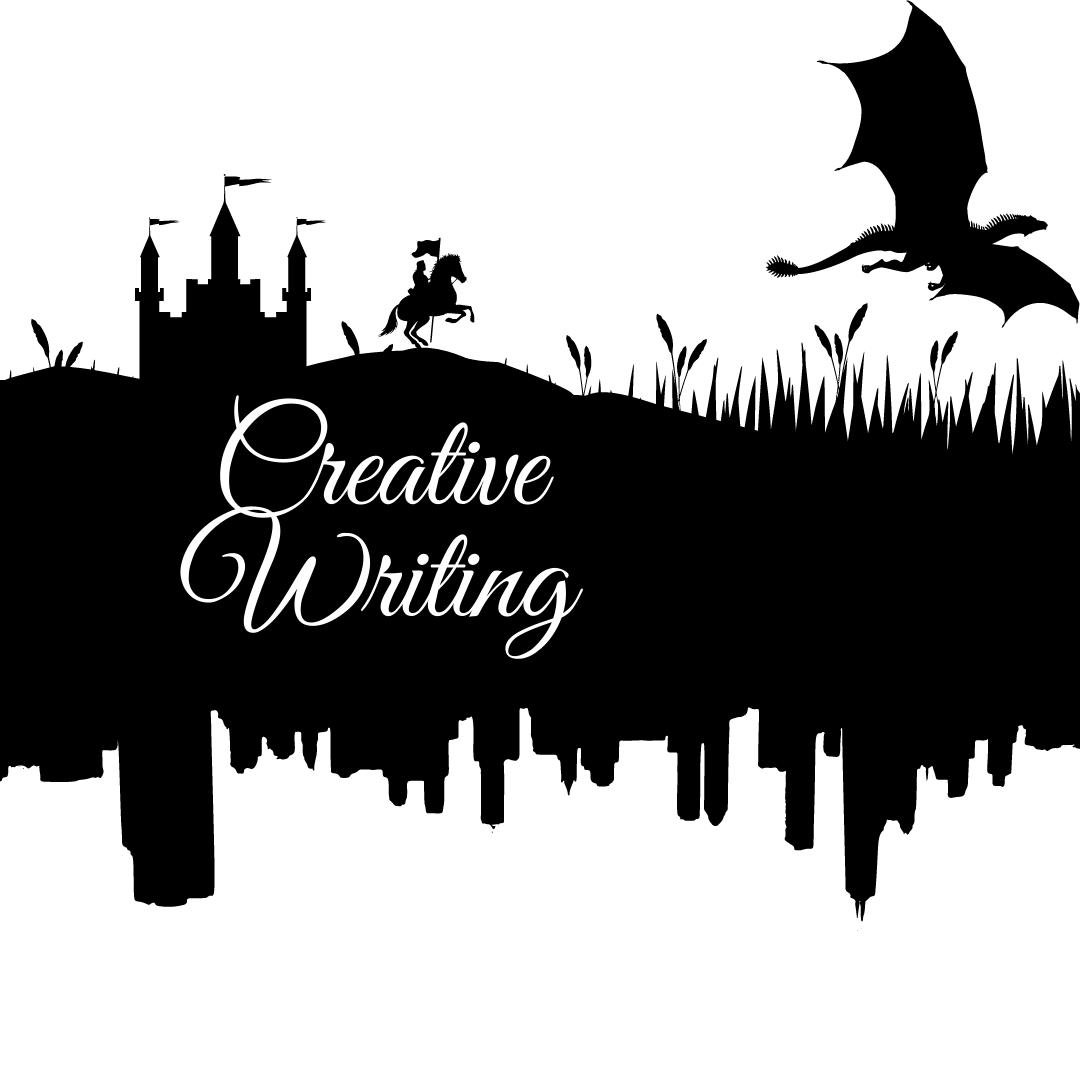 The words creative writing appear over a black background.  The background shapes up top into a castle with a knight following a dragon.  The bottom shapes into a cityscape.
