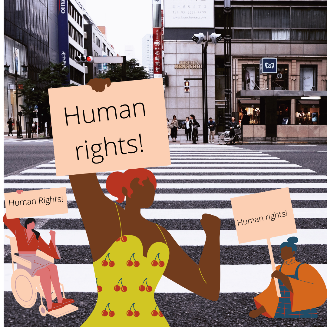 Clip art style images of three women holding signs that read 'human rights!'.  They are transposed over a photo of a city street.