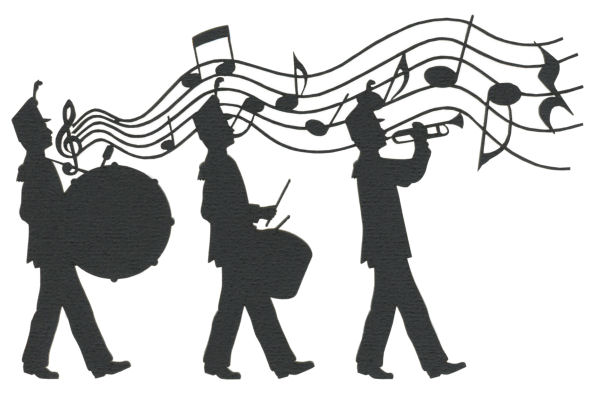 Clip art of three marching figures playing in a band.  One has a trumpet and two are on drums.