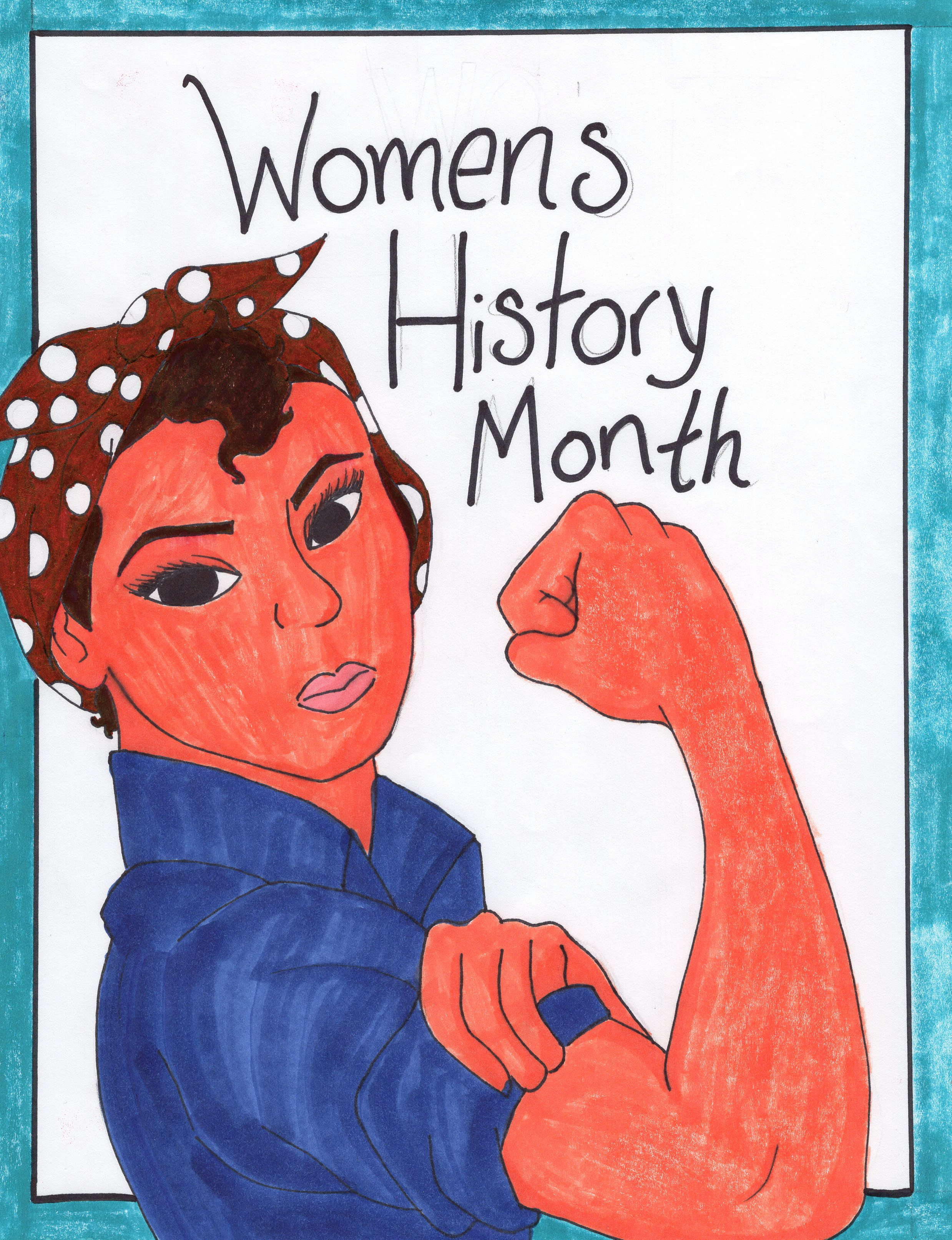Illustration of Rosie the Riveter; a lightskinned woman in a blue jumpsuit and a red and white polka dotted bandanna.  She is holding one of her arms out in a fist to show off her muscle.