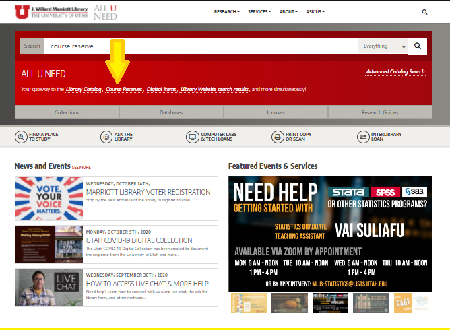 Click on Course Reserve beneath search bar.
