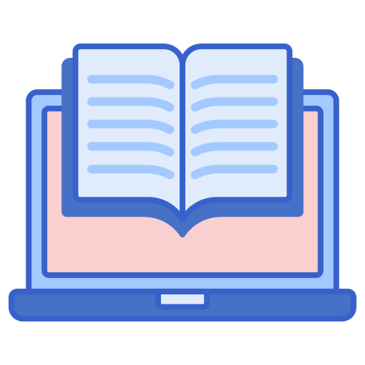Book and laptop icon above library resources links.