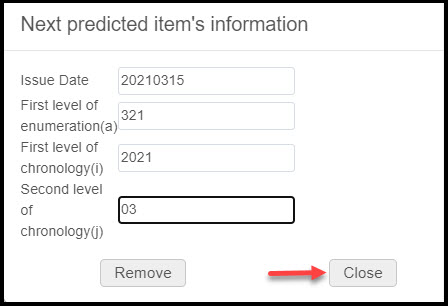 Next Predicted Item's Information Pop-up Screen