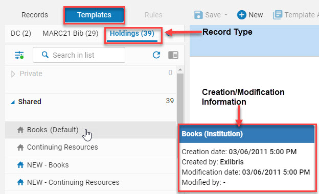 Creation and Modification Information by hovering over the template name