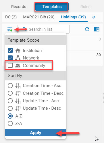 Filter List showing Community deselected for template folders