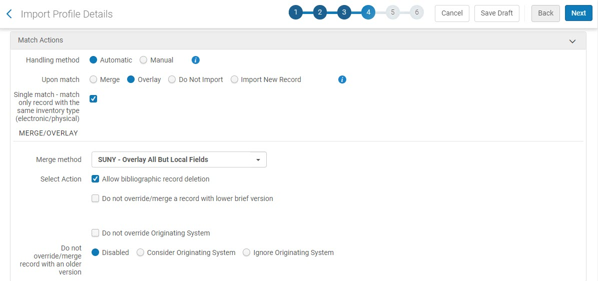 Match Actions Section of Page 4 for an IZ import profile: Match Handling Automatic and Allowing Bib Record Deletion
