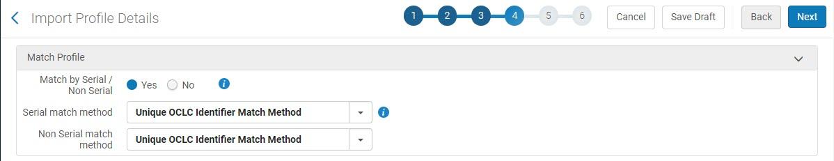 Serial/Non-Serial Match Profile using Unique OCLC Identifier Match Method