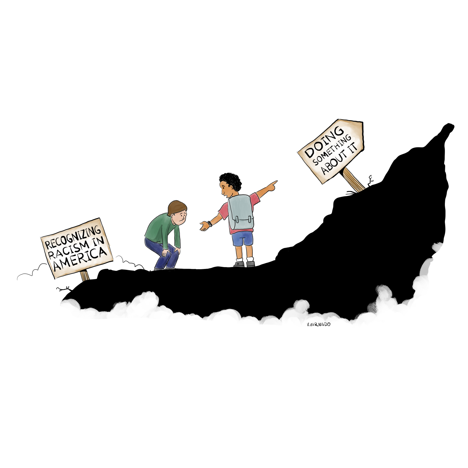 "Image of one white person and one person of color climbing a hill with two signs. One sign at the bottom of the hill next to the white person reads ""recognizing racism in America"". The second sign next the the person of color pointing upward reads ""doing something about it""."