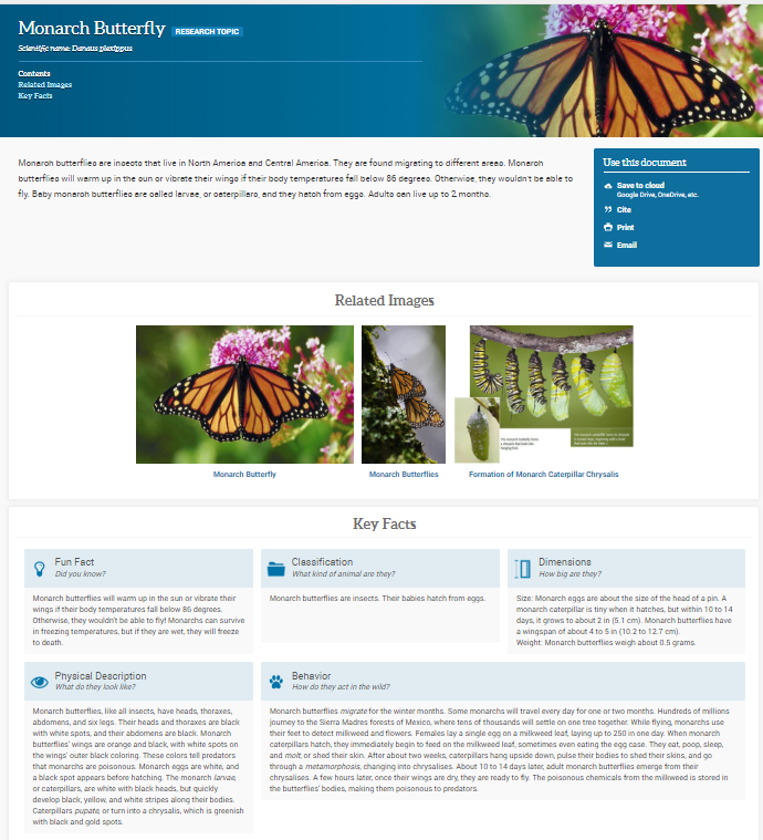 Monarch Butterfly Research Topic in SIRS Discoverer