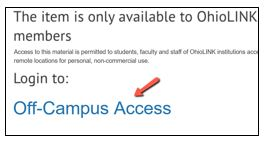 Login to: off-campus access
