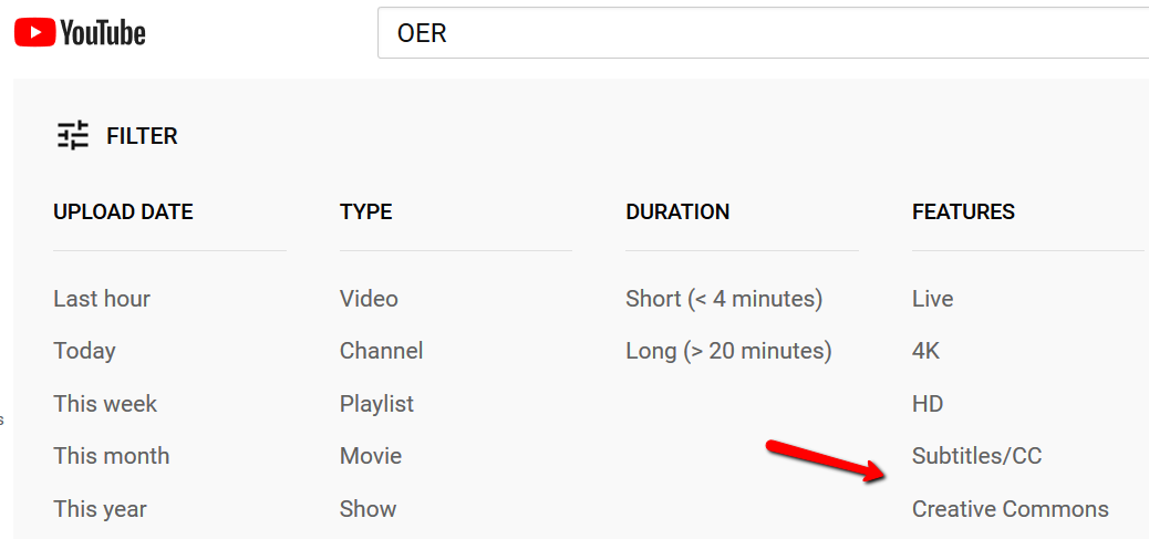 YouTube filter options