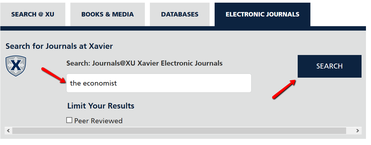 Search for journals at Xavier