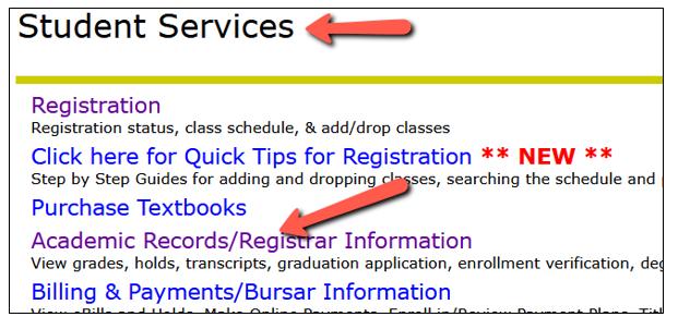 academic records/registrar information