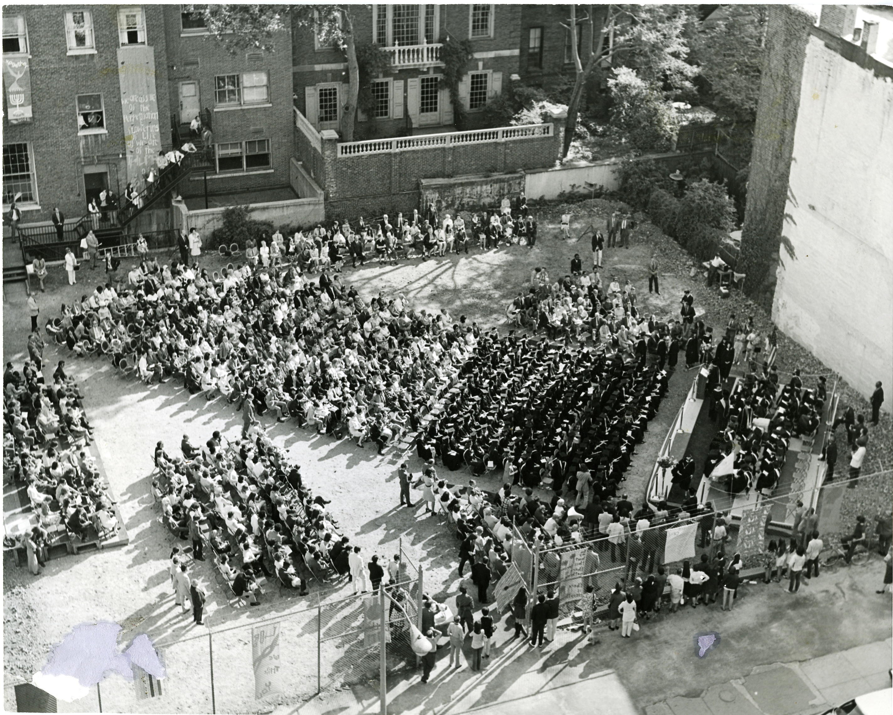 aerial view of 1972 commencement in lot where Nugent Building was erected.