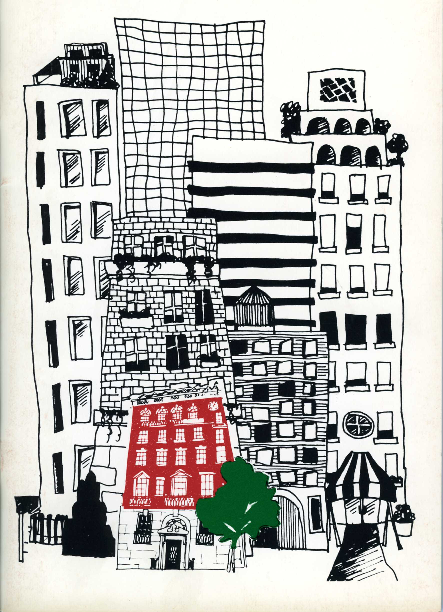 drawing of MMC's building, colored red, against background of blackl-and-white skyscrapers