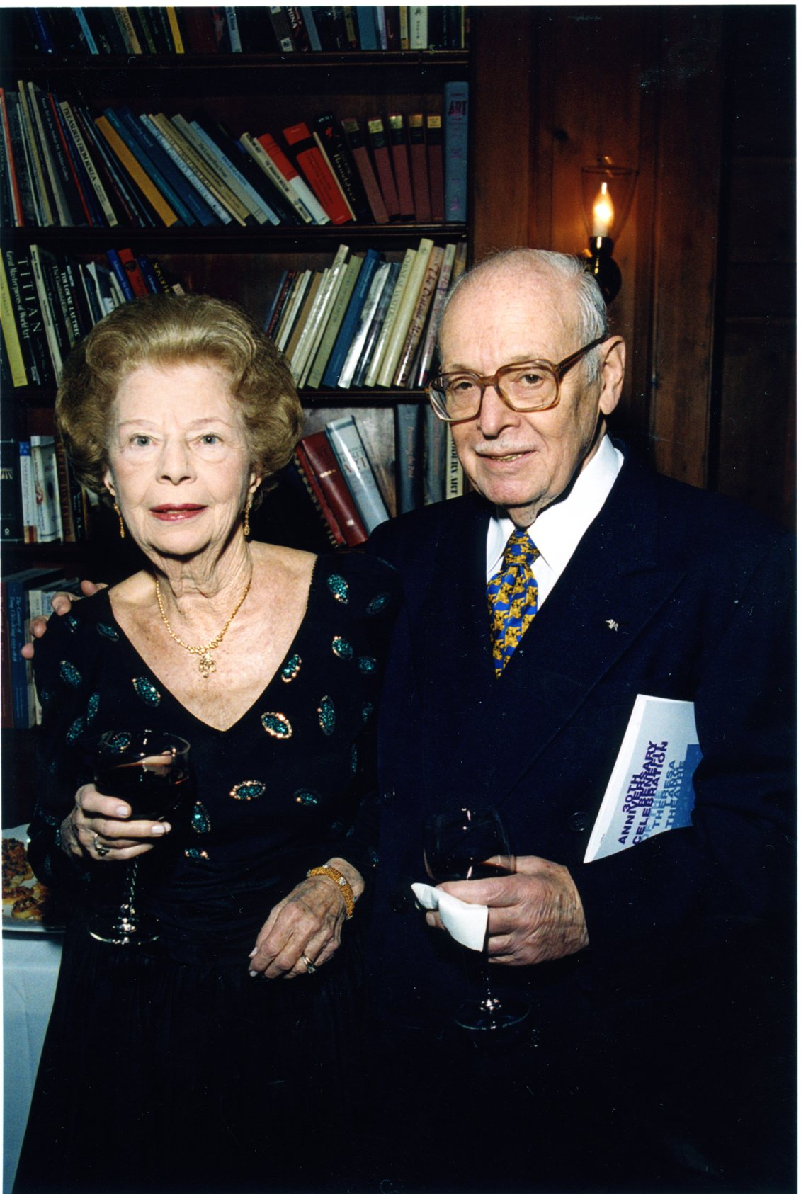 Theresa and Eugene Lang, January 29, 2001, at reception before the dedication of the Theresa Lang Theatre.