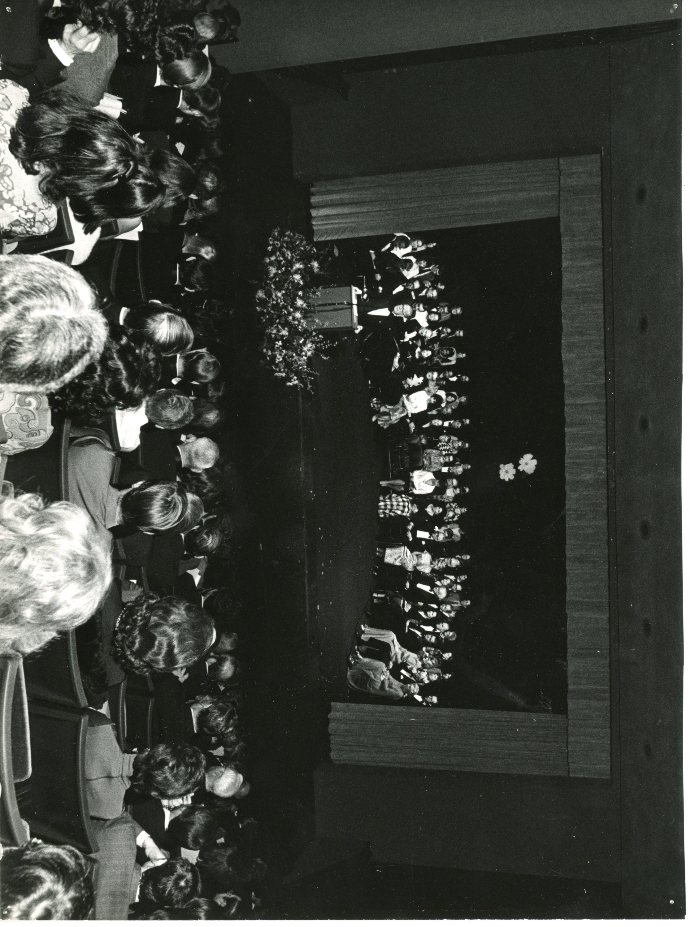 Photo taken from back of theatre showing audience and beyond them a crowd sitting on a stage.